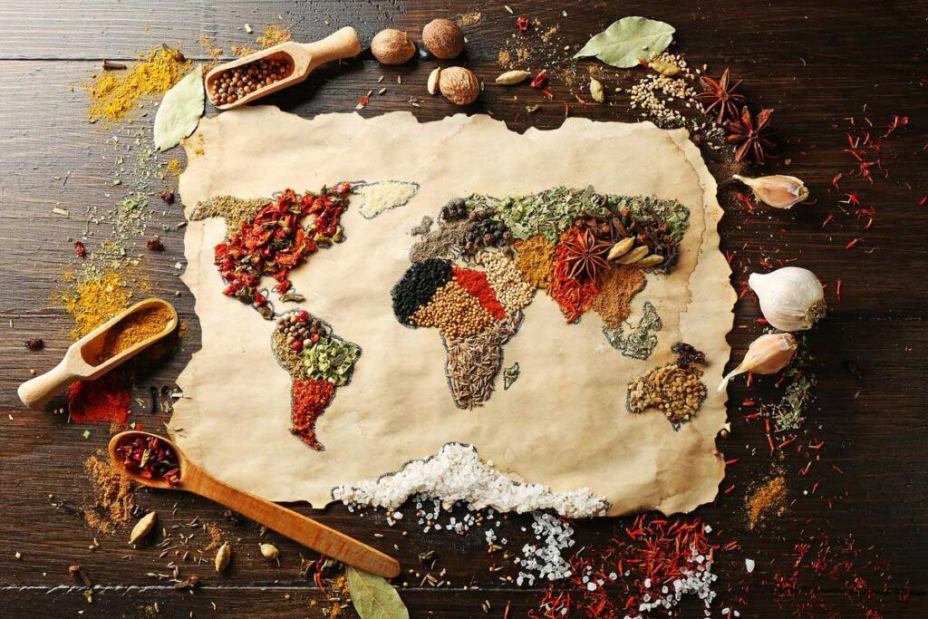 Una mappa del mondo fatta con il cibo